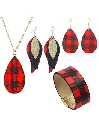Vánoce Kostkovaný Slitina Dámské Ladies ' dívky Náhrdelníky Náušnice Náramky Vánoční šperky 6 ks