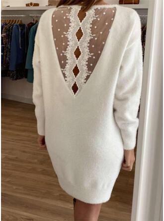 Jednolity Koronka Okrągły dekolt Długie Seksowny Sukienka sweterkowa