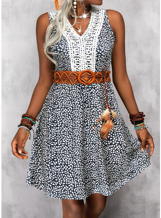 Print Lace Sleeveless A-line Above Knee Casual Skater Dresses