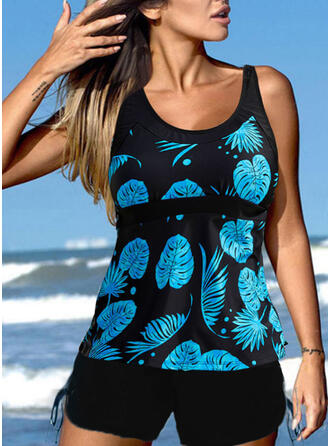 Leaves Tropical Print Strap U-Neck Casual Tankinis Swimsuits