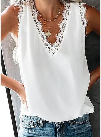 Sólido Encaje Cuello en V Sin mangas Casual Camisetas sin mangas