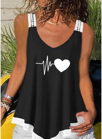 Print Heart V-Neck Sleeveless Casual Tank Tops