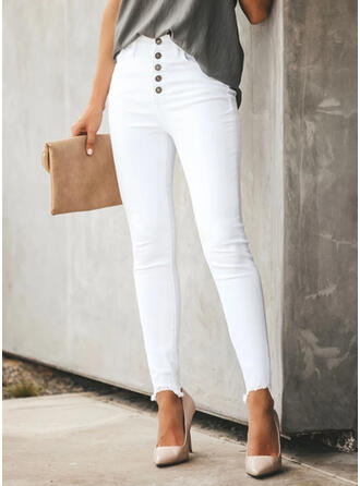 Solid Extra stor storlek Elegant Enkel Denim & Jeans