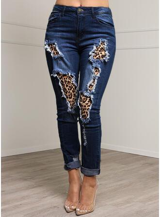 Leopardo Juan Largo Casual Tallas Grande Bolsillo shirred rasgados Botones Pantalones Vaqueros