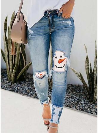 Estampado imitação jean Grandes Casual férias Tamanho positivo Bolso rasgado Calças Jeans