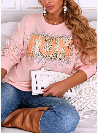 Print Letter Sequins Round Neck Long Sleeves Sweatshirt