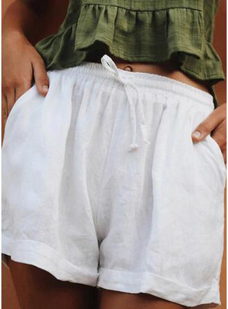 Sólido Lino Por encima de la rodilla Casual Bolsillo cordraystring Pantalones Pantalones cortos