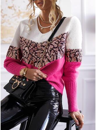 Blok Kolorów cekiny Dekolt w kształcie litery V Casual Swetry
