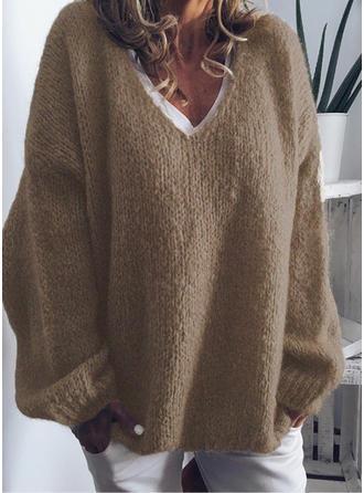 Sólido Punto De Cable Punto Grueso Cuello en V Suéteres