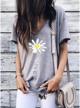Blommig Print V-ringning Korta ärmar T-tröjor