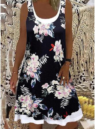 Impresión/Floral Sin mangas Vestidos sueltos Sobre la Rodilla Casual Vestidos