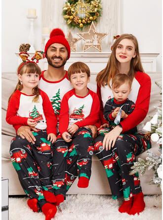 Carta Caricatura Estampado Família Combinando Natal Pijama