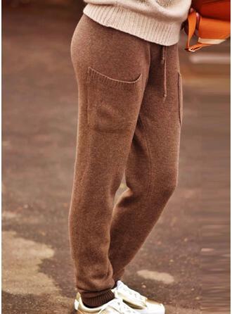 Sólido Tejido Largo Clásico Tallas Grande Bolsillo cordraystring Pantalones de salón