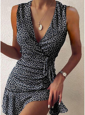 Print Sleeveless Sheath Above Knee Sexy/Vacation Dresses