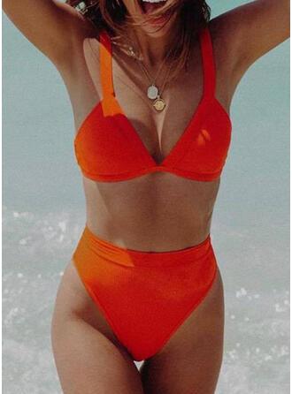 Color Sólido Cintura Alta Correa Sexy Bikinis Trajes de baño
