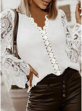 Solid Lace V-Neck Long Sleeves Flare Sleeve Casual Blouses