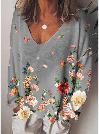 Blommig Print V-ringning Långa ärmar T-tröjor