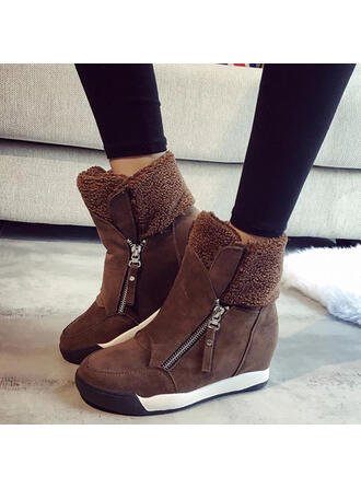 Women's Suede Flat Heel Snow Boots Round Toe With Zipper Solid Color shoes