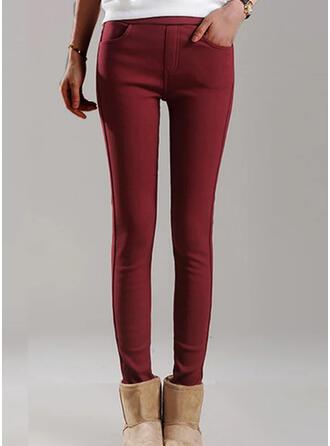 Pevný Oříznuté Plus velikost Kancelář / Obchod hlubokým výstřihem Kalhoty