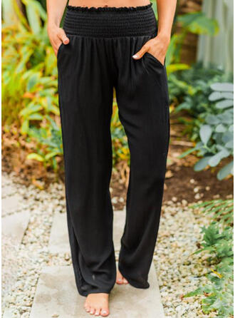 Solid Pockets Casual Plain Lounge Pants