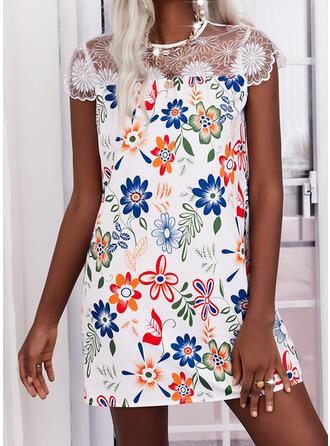印刷/フローラル レース cap sleeve シフトドレス 膝上 エレガント ドレス