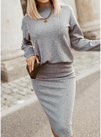 固体 スタンドカラー プラスサイズ セーター