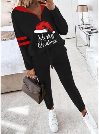 文字 縞模様の 印刷 カジュアル プラスサイズ スウェット & ツーピースの服 Set ()