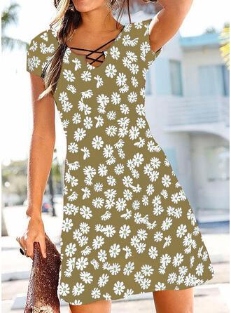 Impresión/Floral Manga Corta Acampanado Sobre la Rodilla Casual Vestidos