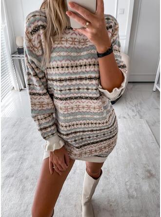 Impresión Cuello Alto Casual Vestido de Suéter
