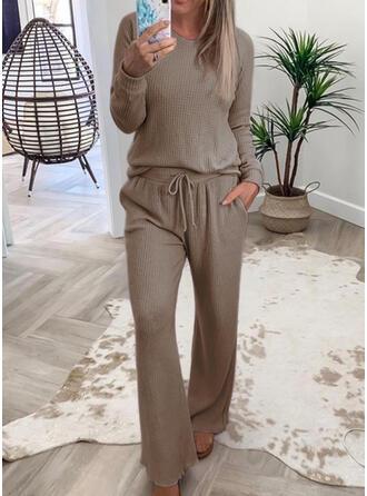 Sólido Casual Tamanho positivo blusa & Roupas de Duas Peças Set ()