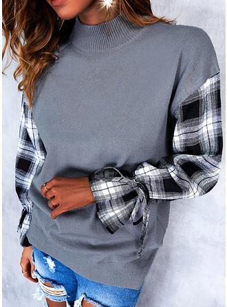 グリッド ラウンドネック カジュアル セーター