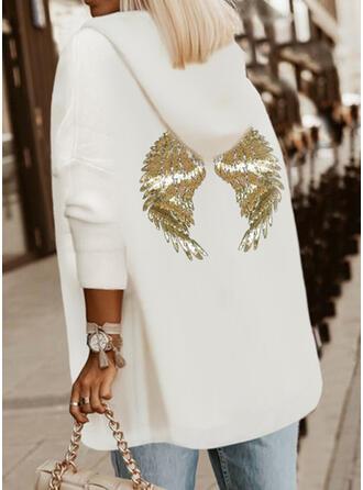 Solid Sequins Long Sleeves Hoodie