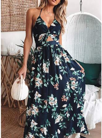 Nadrukowana/Kwiatowy Bez rękawów W kształcie litery A Łyżwiaż Wakacyjna Maxi Sukienki
