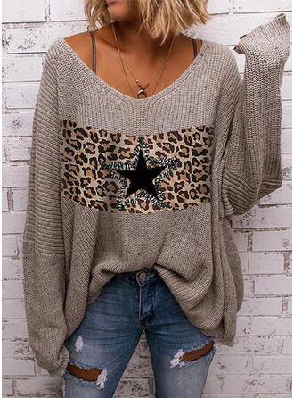 Color Block Leopard Sequins V-Neck Casual Sweaters