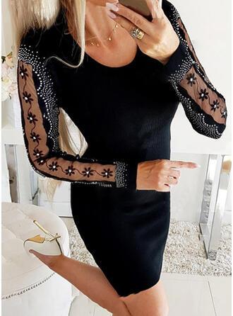 Flitterek/Egyszínű/Gyöngyös Hosszú ujjú Testre simuló ruhák Térd feletti Kis fekete/Party φορέματα