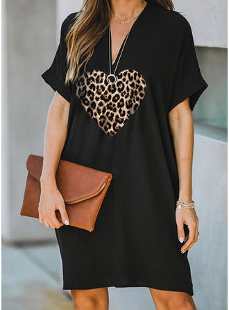 Print/Leopard Short Sleeves Shift Knee Length Casual Dresses