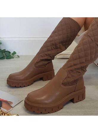 De mujer PU Tacón ancho Botas longitud media con Banda elástica Color sólido zapatos