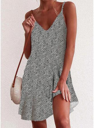 Impresión/Leopardo Sin mangas Tendencia Sobre la Rodilla Casual/Vacaciones Vestidos
