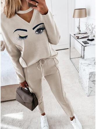 目印刷 カジュアル Blouse & パンツ ツーピースの服 Set ()