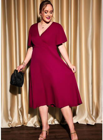 Solid Short Sleeves A-line Skater Party/Plus Size Midi Dresses