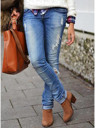 Sólido Jean Grandes Casual Tamanho positivo Bolso rasgado Jeans