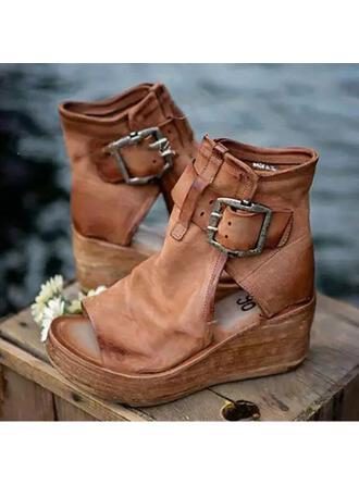 De mujer Cuero Tipo de tacón Sandalias con Hebilla Agujereado zapatos