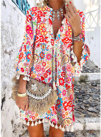 Print/Floral/Tassel 3/4 Sleeves/Flare Sleeves Shift Above Knee Casual/Boho/Vacation Tunic Dresses