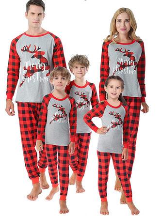 トナカイ チェック 文字 マッチングファミリー クリスマスパジャマ