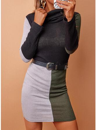 印刷/カラーブロック 長袖 シースドレス 膝上 カジュアル ドレス