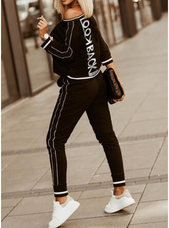 Print Casual Plus størrelse sweatshirts & 2-delt tøj sæt