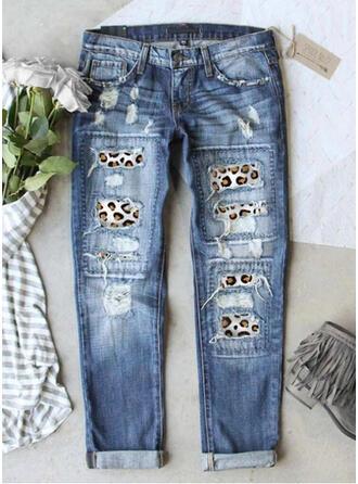 lappverk Rev Leopard Stam Årgång Denim & Jeans