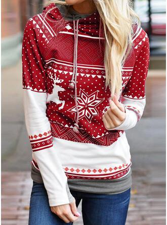 Bawełna Poliester Wydrukować Boże Narodzenie Świąteczna bluza