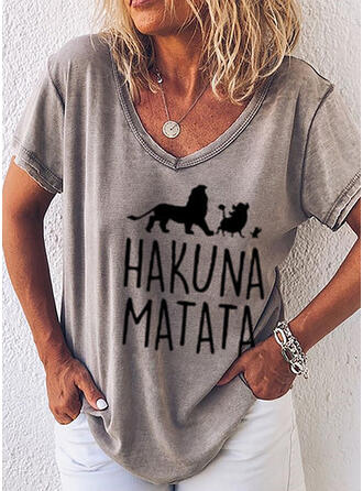 Animal Print Figure V-Neck Short Sleeves T-shirts