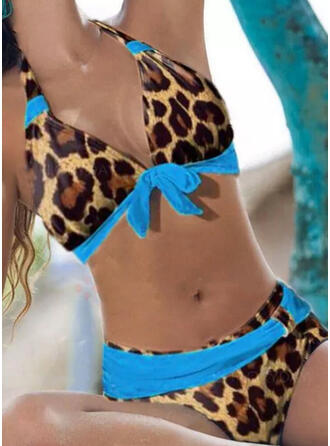 Leopard Tryck upp V-ringning Bandlös Sexig Fritids bikini Badkläder